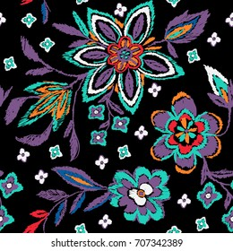 Coloring embroidery flowers pattern