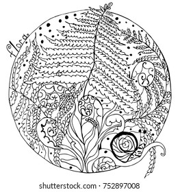 coloring, fern of the forest and snails, black-and-white image, anti-stress