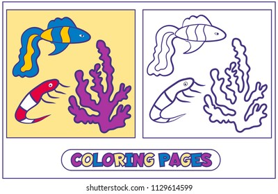 Coloring with fish guppies, coral and shrimp. The book for destkogo creativity.. Black-and-white drawing from lines for coloring with paints and pencils. On a white background. Vector illustration.