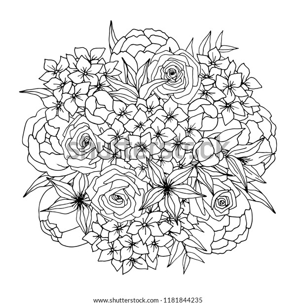 Coloring Flower Bouquet Vector Coloring Page Stock Vector