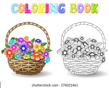 Coloring flowers in a basket