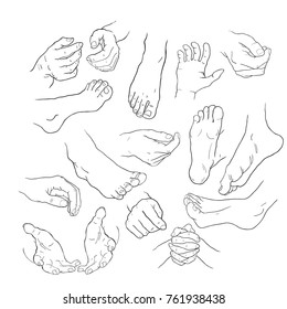 coloring foot  and hand in different positions. vector illustration