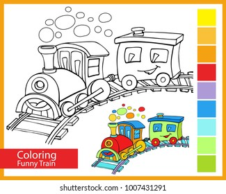 Coloring Funny Train. Children's arts game. Happy Train with smile a car. Entertainment for children. Cute locomotive. Drawing contour for coloring. Vector illustration.