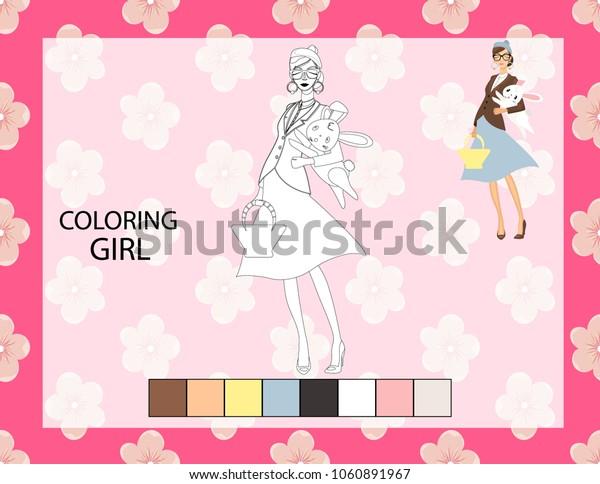 Coloring girl page. Preschool kindergarten worksheet.