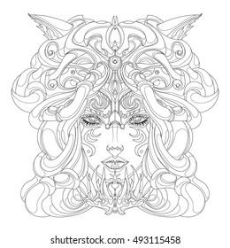 coloring girl shaman