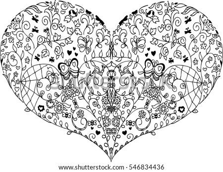 coloring heart mandala spring elements vector stock vector royalty