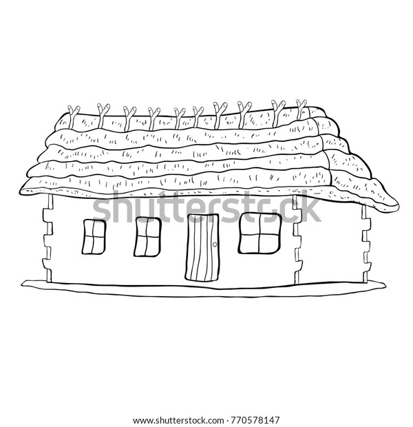 Coloring House Thatched Roof Vector Illustration Stock ...
