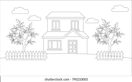Coloring House Village Kids Vector Illustration Stock Vector ...