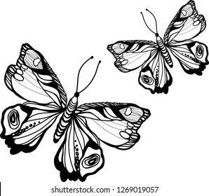 Coloring for kids. Coloring for adults. Black and white decorative image.Isolated image on a white background.