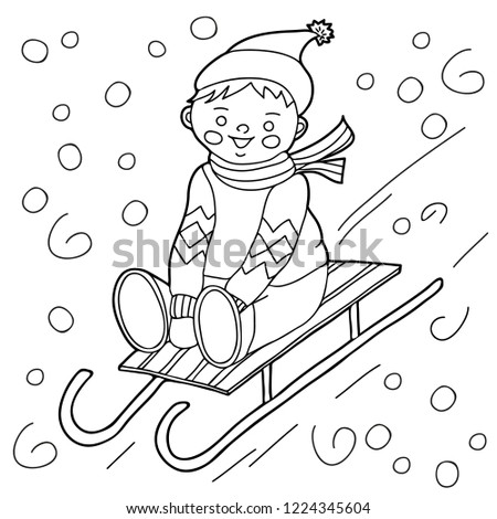 Coloring Kids Winter Theme Boy Sledding Stock Vector Royalty Free