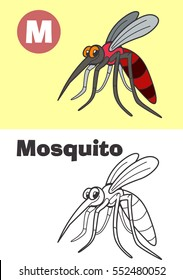 Coloring Mosquito For Children. Illustration For Children. Get To Know the Animals