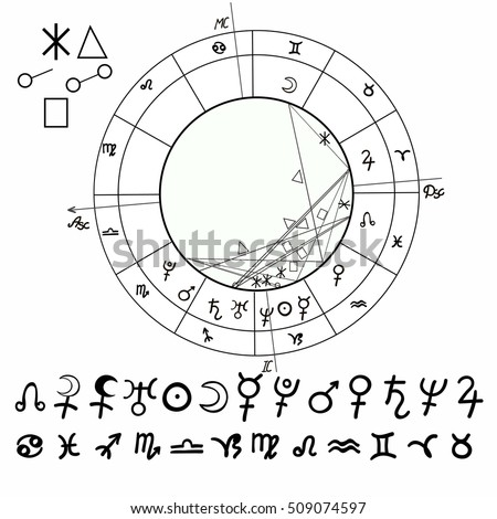 Coloring Natal Astrological Chart Zodiac Signs Stock Vector Royalty