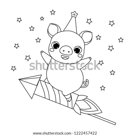 Coloring Page 2019 New Year Theme Stock Vector Royalty Free