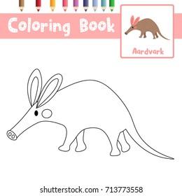 Coloring page of Aardvark animals for preschool kids activity educational worksheet. Vector Illustration.