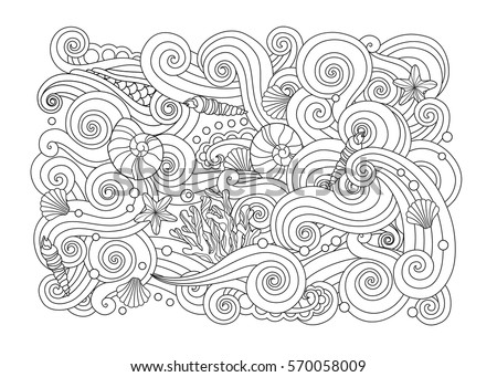 Coloring Page With Abstract Sea Background Waves Shells Corals Horizontal Composition