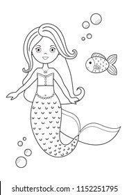 Coloring Page Kids Cute Cartoon Mermaid Stock Vector (Royalty Free ...