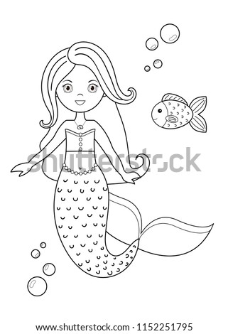 Coloring Page Activity Kids Cute Cartoon Stock Vector (Royalty Free ...