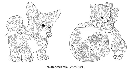 - Adult Colouring Pages Dog Images, Stock Photos & Vectors Shutterstock