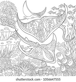 Coloring page. Adult coloring book idea. Underwater background with stingray shoal, tropical fishes and ocean plants. Antistress freehand sketch drawing with doodle and zentangle elements.