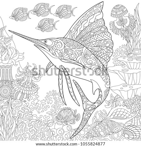 Coloring Page Adult Book Idea Underwater Background With Sailfish Jellyfish Tropical