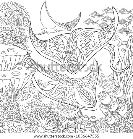 Coloring Page Adult Book Idea Underwater Background With Stingray Shoal Tropical Fishes