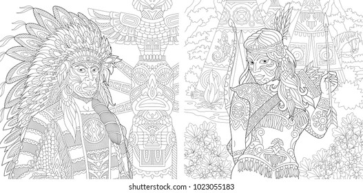 Coloring Page. Adult Coloring Book. Native American Indian Chief and Apache Woman. Navajo ethnicity. Boho tribal culture. Antistress freehand sketch collection with doodle and zentangle elements.