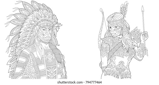 Native American - Coloring Pages for Adults | 280x527