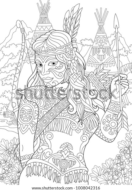 Coloring Page Adult Coloring Book Native Stock Vector Royalty Free 1008042316