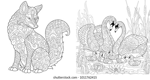 Coloring Page. Adult Coloring Book set. Wild Fox animal. Swan birds couple for Valentines or Family Day vintage greeting card. Antistress freehand sketch collection with doodle and zentangle elements.