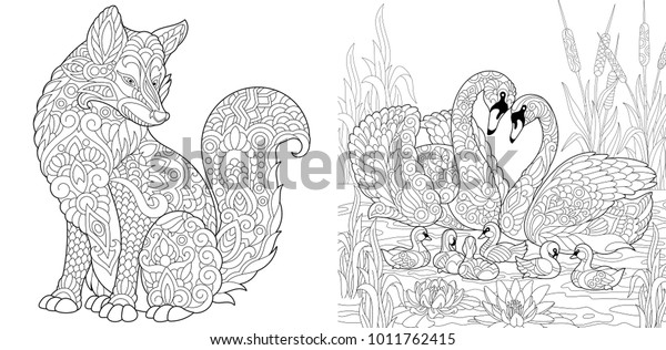Coloring Page Adult Coloring Book Set Royalty Free Stock Image