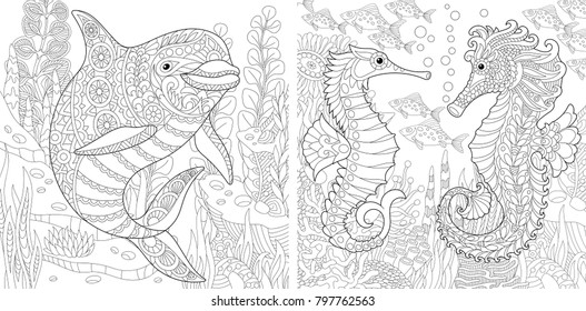 Mermaid with a dolphin coloring page - Mermaid and sea creatures ... | 280x527