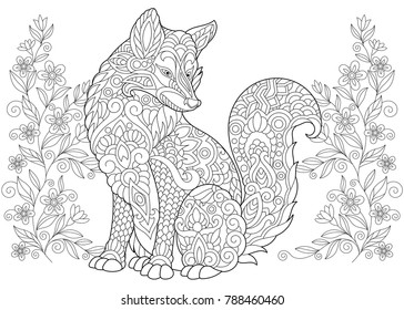 Coloring Page. Adult Coloring Book. Wild Fox and summer or spring Flowers. Antistress freehand sketch drawing with doodle and zentangle elements.