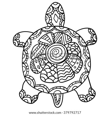 Stock Vektory Na Téma Coloring Page Adult Drawing Zentangle Turtle