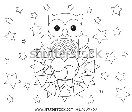 Coloring Page Adult Mandala Owl Animal Stock Vector (Royalty Free ...