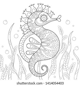 Coloring page for adult relaxing therapy. Hand drawn Sea Horse illustration, picture for antistress colouring book, artistic t-shirt print, poster in sketch zentangle style. Vector Ocean animal.