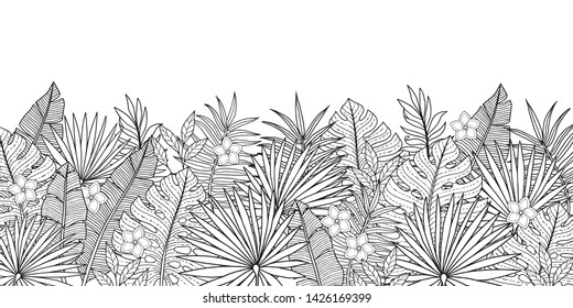 Coloring page for adult. Tropical background with jungles plants leaves of bananas and palm trees. Vector horizontal vignette. Summer exotic design for invitations, posters, backgrounds
