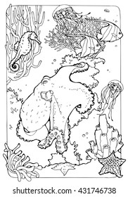 coloring page for adults; antistress drawing; ocean life