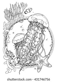 coloring page for adults; antistress drawing; ocean life; jellyfishes