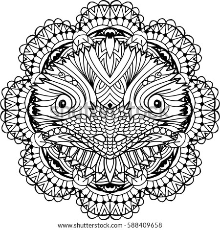 Coloring Page Adults Australian Animal Head Stock Vector Royalty