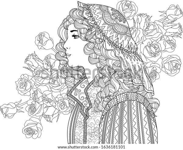 Coloring Page Adults Beautiful Fantasy Lady Stock Vector (Royalty Free)  1636181101