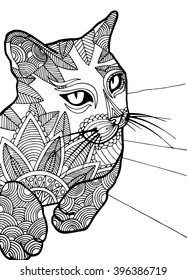 Coloring page for adults, cat
