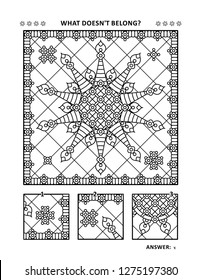 Coloring page for adults (children ok, too) and visual puzzle: What does not belong? Spot the odd one out. Find the detail that is not the fragment of the main picture. Answer included.