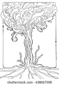 coloring page for adults; decorative illustration of tree