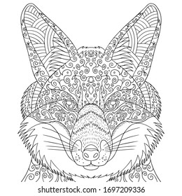 Coloring Page Adults Fox Head Doodle Stock Vector Royalty Free 1697209336