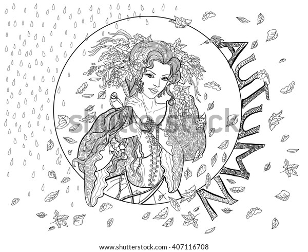 coloring page adults girlautumn leaves 600w