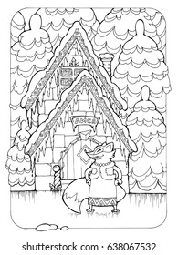 coloring page for adults; illustration of russian fairytale about ice and bast hut translation of the used russian word - fox