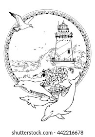 coloring page for adults; lighthouse and seagulls and dolphins