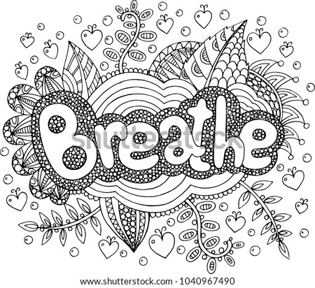 Coloring Page Adults Mandala Breathe Word Stock Vector (Royalty Free ...