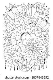 Página de coloreado para adultos y niños mayores. Fondo floral blanco y negro para colorear. Ilustración vectorial vertical.