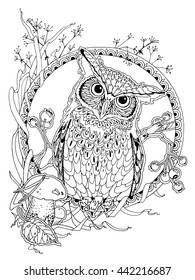 coloring page for adults; owl with forest elements